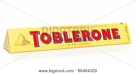 A bar of Toblerone milk chocolate