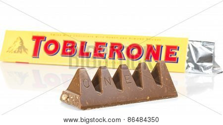 A bar of Toblerone milk chocolate