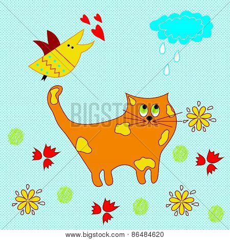 Vector illustration of a cat in a fairy tale