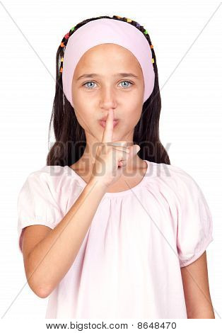 Portrait Of Adorable Girl Ordering Silence