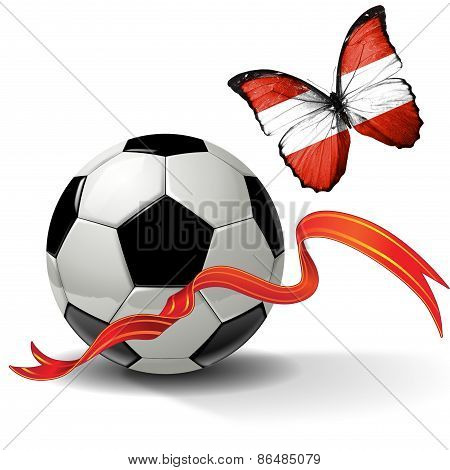 Soccer ball with ribbon and butterfly with the flag of Austria