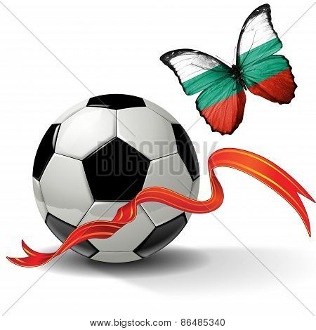 Soccer ball with ribbon and butterfly with the flag of Bulgaria