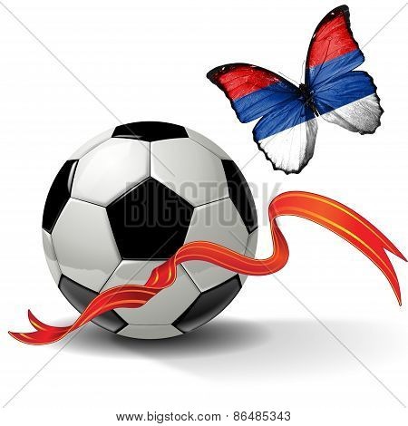 Soccer ball with ribbon and butterfly with the flag of Republika Srpska
