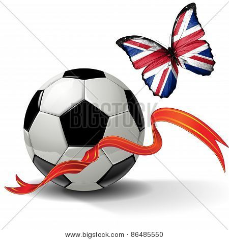 Soccer ball with ribbon and butterfly with the flag of United Kingdom