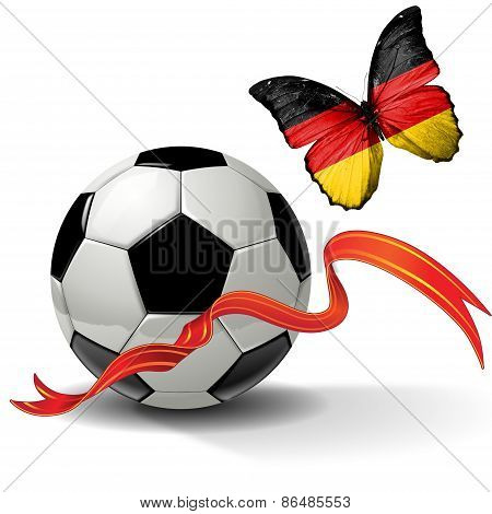 Soccer ball with ribbon and butterfly with the flag of Germany