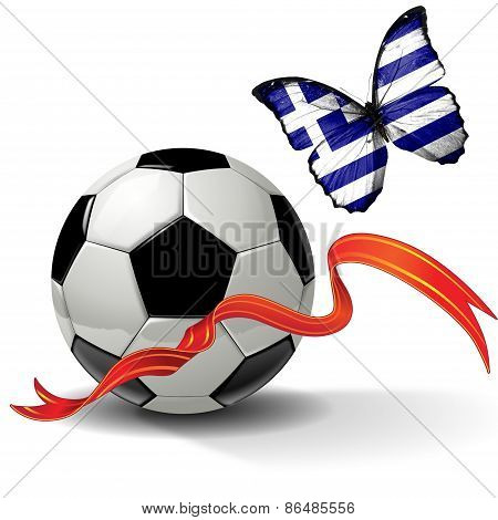 Soccer ball with ribbon and butterfly with the flag of Greece