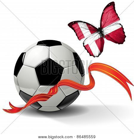 Soccer ball with ribbon and butterfly with the flag of Denmark