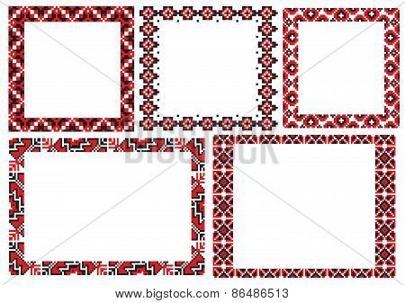 Ukraine folk embroider pattern frame
