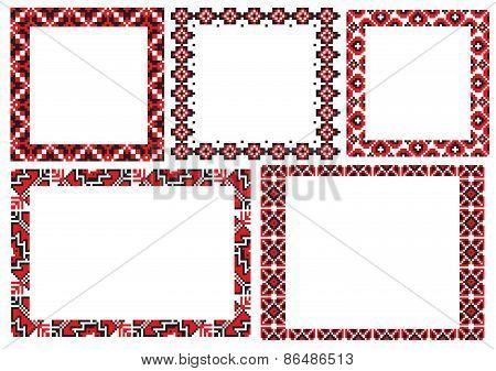 Ukraine folk embroider pattern frame