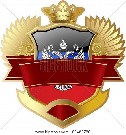 Shield with wings and crown angel Donetsk People's Republic