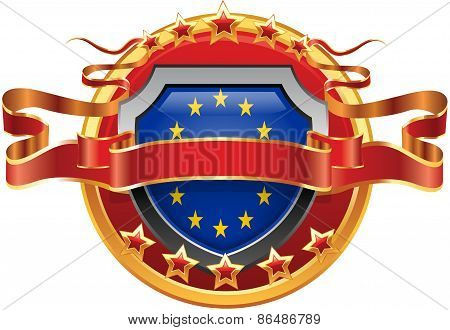 Shield with tape and with the stars and the flag of the EU