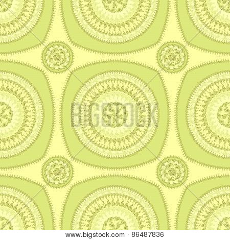 Seamless pattern with circle ornament  in green
