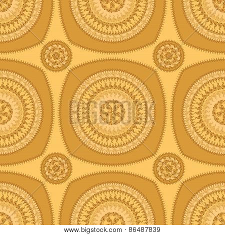 Seamless pattern with circle ornament  in orange