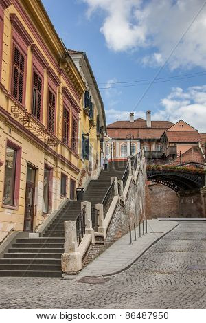 Stairs Leading To The Bridge Of Lies In Sibiu