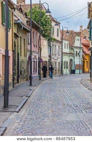 Colorful Street In The Historical Center Of Sibiu