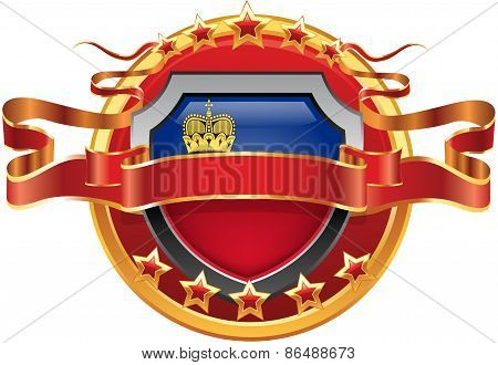 Shield with tape and with the stars and the flag of the Liechtenstein