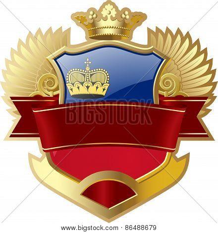 Shield with wings and crown angel Liechtenstein