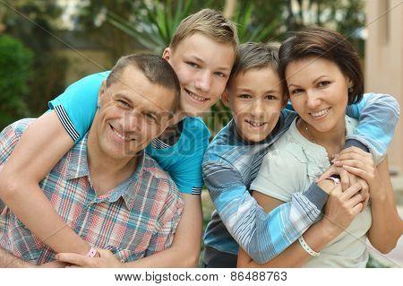 Family at tropical resort