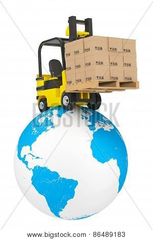 Forklift Truck With Boxes And Pallet Over Earth Globe