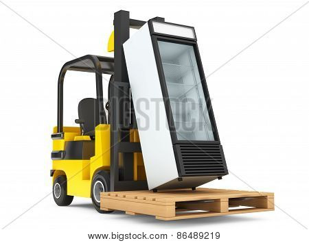 Forklift Truck With Fridge Drink And Pallet