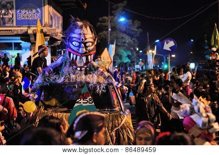 Mask Street art car, Yogyakarta city festival parade