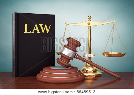 Old Style Photo. Justice Gold Scale, Law Book And Wooden Gavel