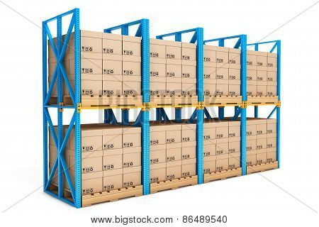 Rows Of Shelves With Boxes