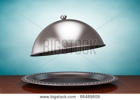 Old Style Photo. Silver Restaurant Cloche