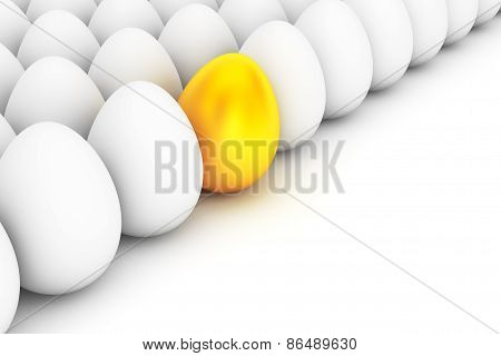 Golden Easter Egg Standing Out From The White Eggs