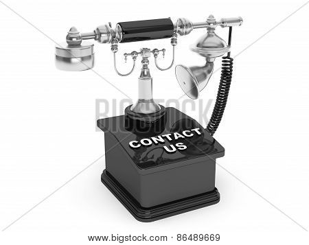 Retro Phone. Vintage Telephone With Contact Us Sign
