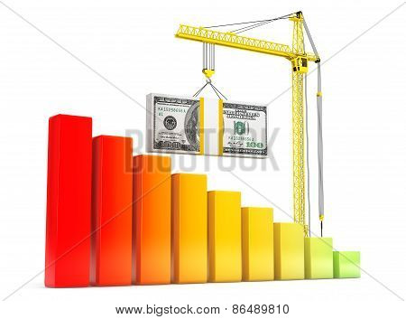 Dollars Bills Lifted By Hoisting Crane