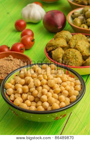 Chick Peas, Falafel, Spices And Vegetables