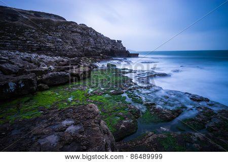 Misty Dorset coastline