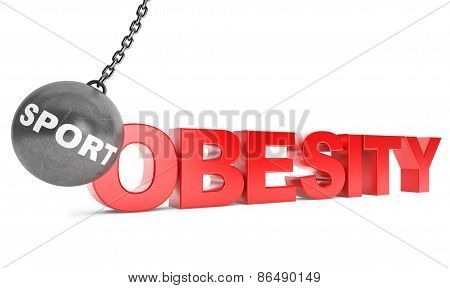 Sport Destroy Obesity Concept.  Wrecking Ball As Sport With Obesity Sign