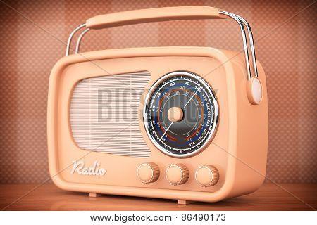 Old Style Photo. Vintage Radio On Table