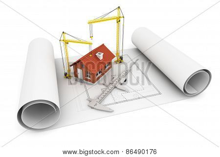 3D House With Caliper And Hoisting Crane Over Architect Blueprint