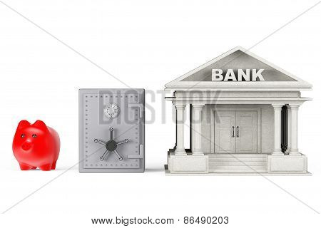 Protect Money Concept. Piggy Bank, Safe And Bank Building