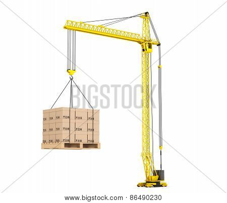 Cargo Delivery Concept. Pallet With Cardboard Lifted By Hoisting Crane