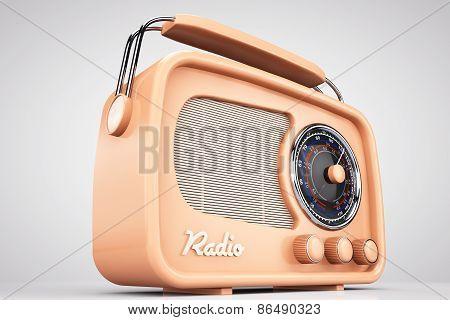 Old Style Photo. Closeup Vintage Radio