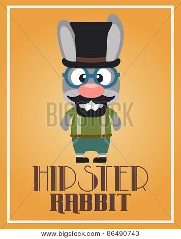 Funny hipster rabbit