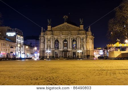 Lviv Opera And Ballet Theater At Night, Ukraine