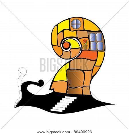 cartoon snail with home