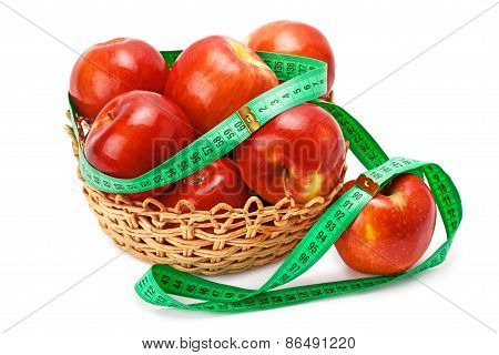 Apples Arranged In A Basket And Centimeter