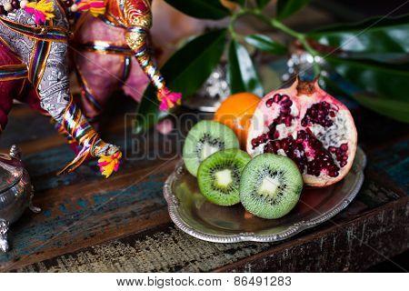 kiwi fruit still life in the Indian interior