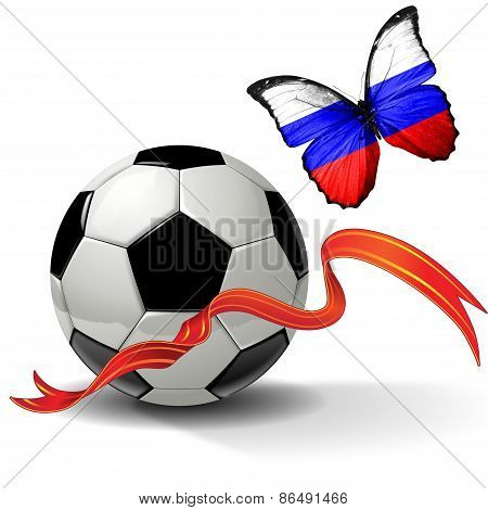 Soccer ball with ribbon and butterfly with the flag of  Russia