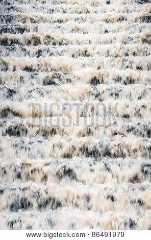 Water Falling Down A Staircase At A Drinking Water Reservoir