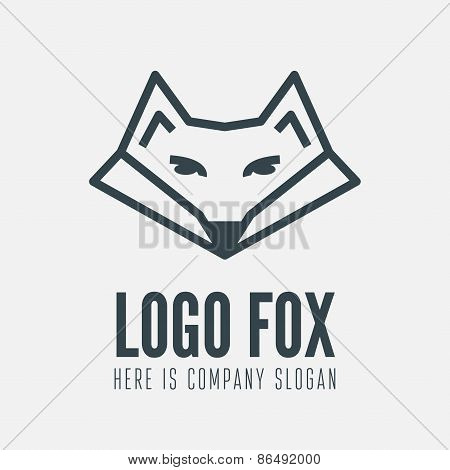 Logo, label, badge, emblem or logotype element with fox for business, ecology, corporation or web