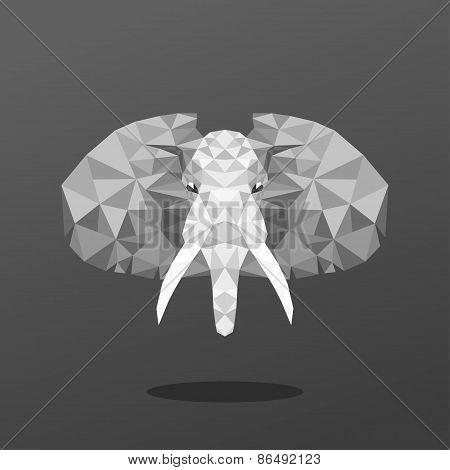 Animal Portrait With Polygonal Geometric Design Vector Illustration. Elephant