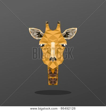 Animal Portrait With Polygonal Geometric Design Vector Illustration. Giraffe