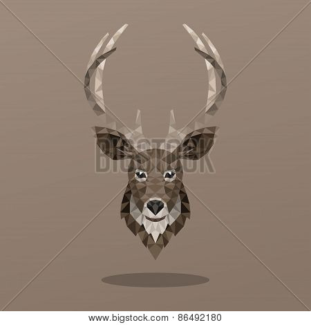 Animal Portrait With Polygonal Geometric Design Vector Illustration. Deer